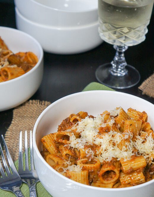 Rigatoni Pasta with Meat Sauce