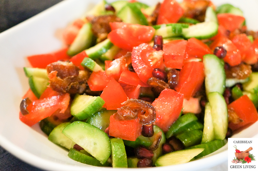 Tomatoes, Mini Cucumber, Pomegranate and Dried Figs Salad