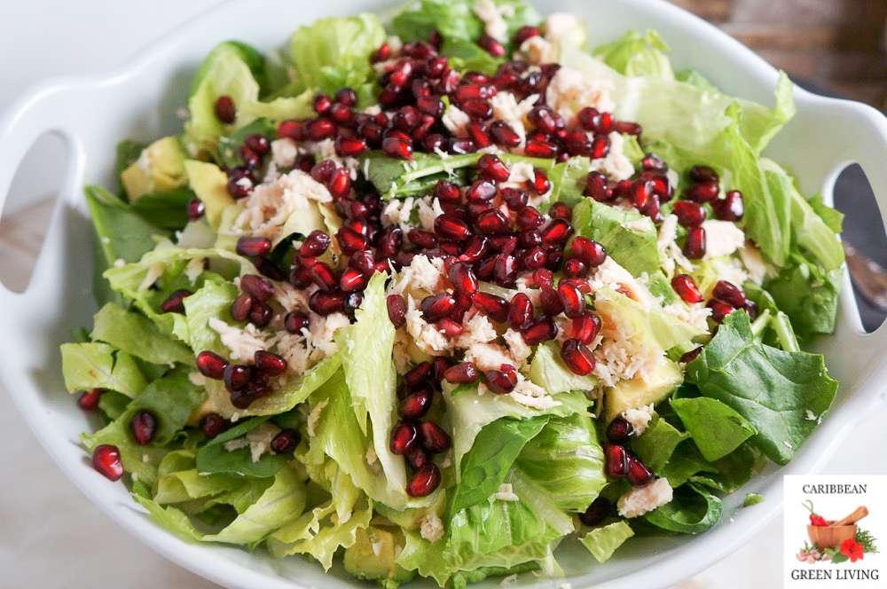 Tuna Salad with Romaine, Avocado and Pomegranate