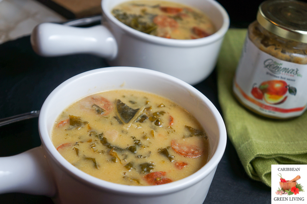 Chickpeas, Kale and Andouille Sausage Soup