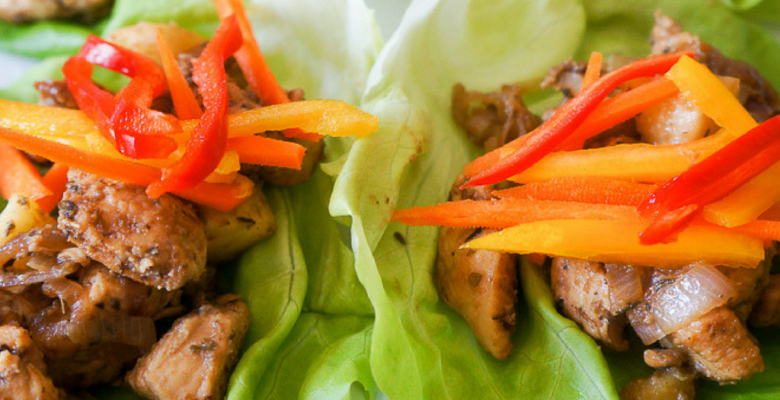 Lettuce and chicken wraps
