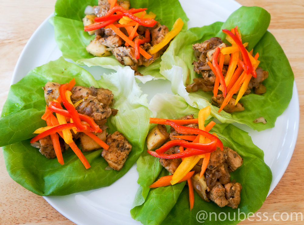 Spicy, Sweet and Crunchy Chicken Lettuce Wraps