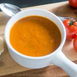 Tomato soup with cassava