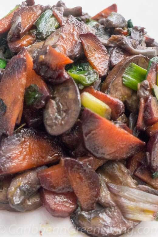 Sautéed Mushrooms, Purple Carrots and Scallions