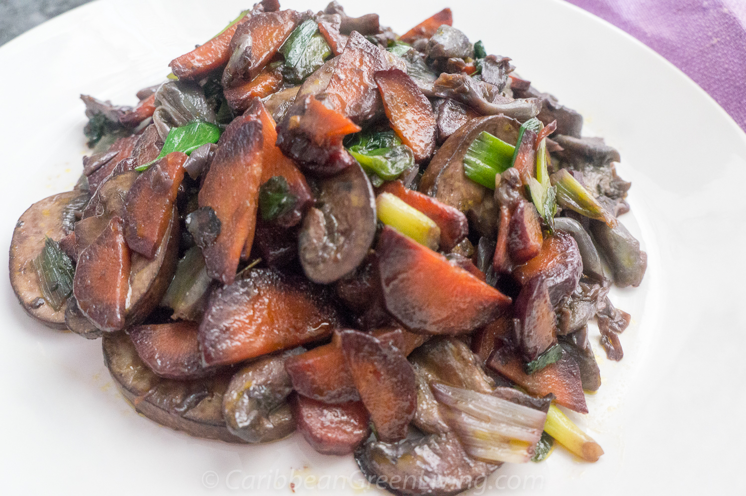 Sautéed Mushrooms, Purple Carrots and Scallions