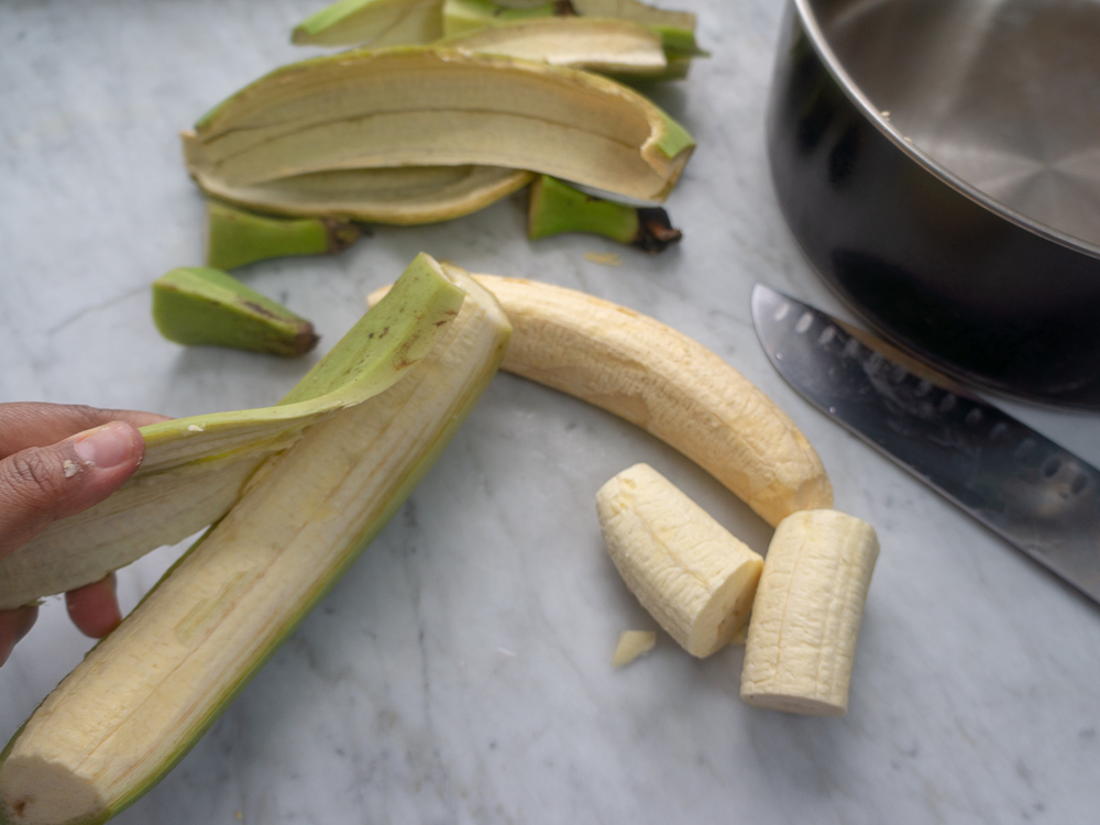 Cutting green plantains