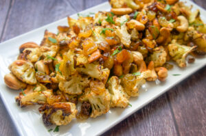 Roasted Cauliflower with Cashews and Raisins