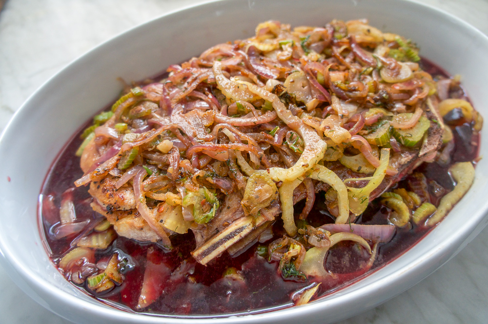 Veal Roasted with onion, Fennel, and Shiraz
