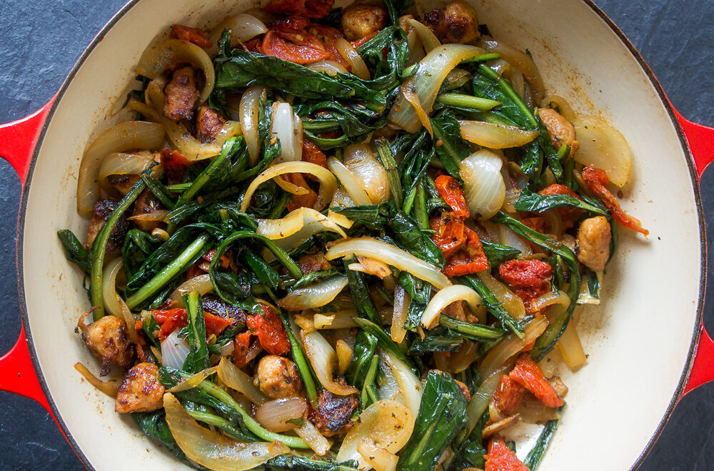 Spicy Dandelion with Sausages