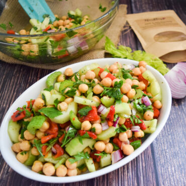 Chickpea, Cucumber, and Roasted Bell Peppers Salad