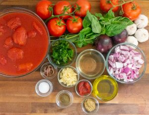 Ingredients for Marinara Sauce