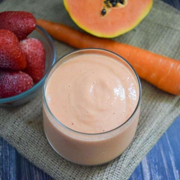 Strawberry Carrot, Papaya Smoothie