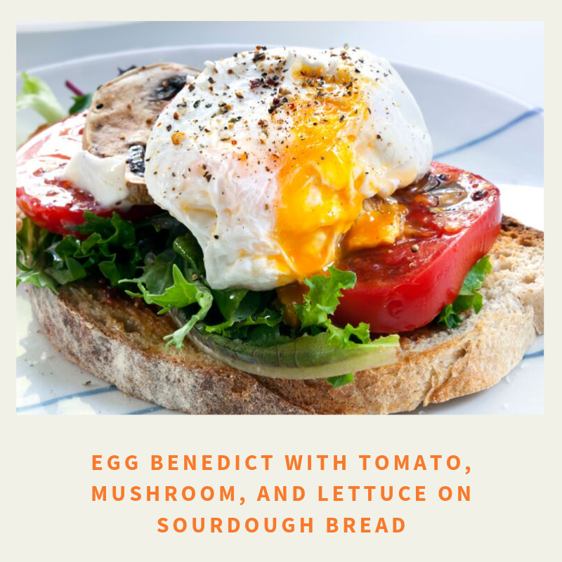 Egg Benedict with tomato mushroom and lettuce on sourdough bread png