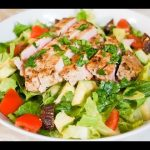 Pan Seared Tuna Steak Salad with Noubess Hot and Spicy Pineapple and Herbs Sauce