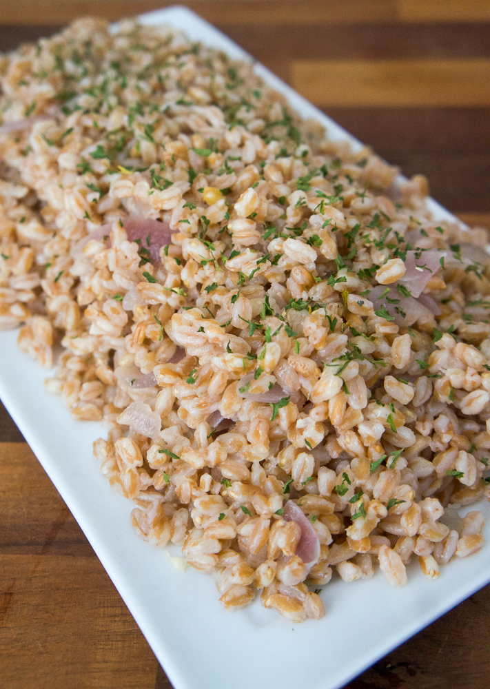 Farro with Red Onion and Fresh Garlic