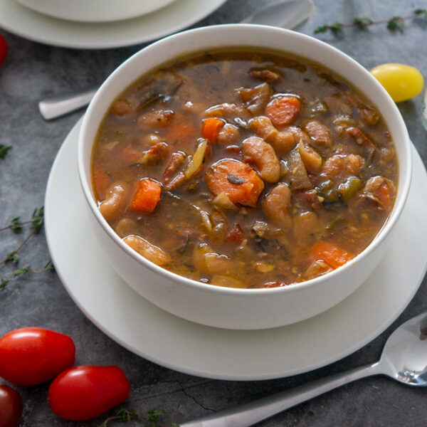 Slow Cooker Cannellini Bean Soup with Ham