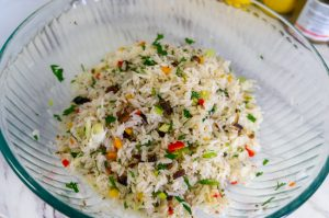 Rice with Smoked Herrings, Peppers and Scallions