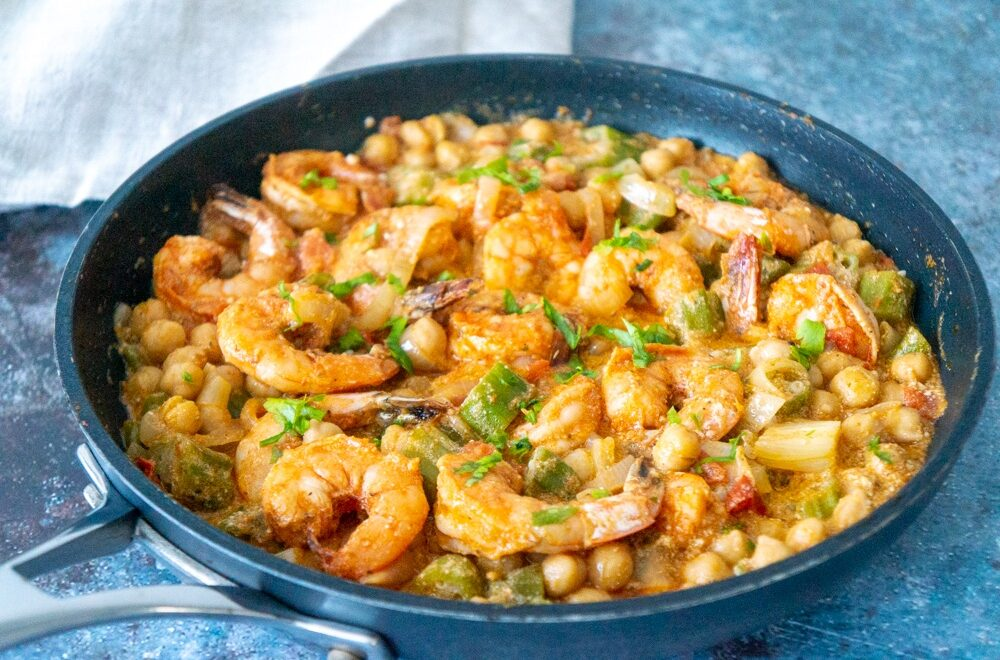 Shrimp with Okra and Chickpeas
