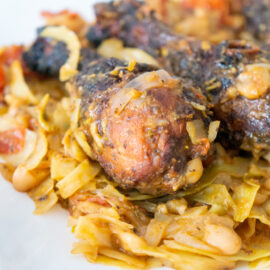 Chicken with Cabbage and Cannellini Beans