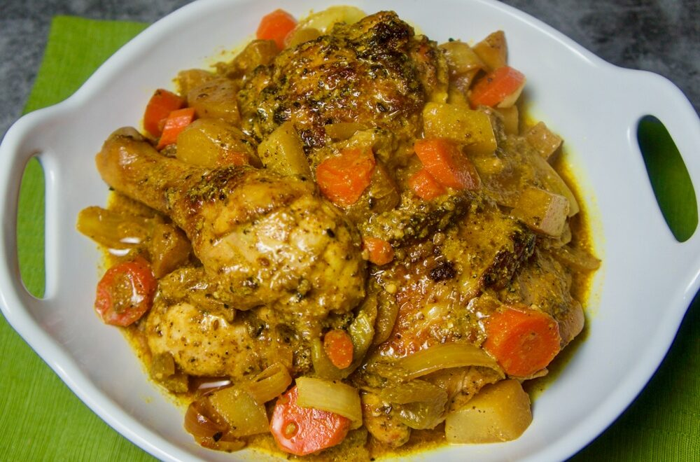 Crispy Chicken with Chayote and Carrot Stew