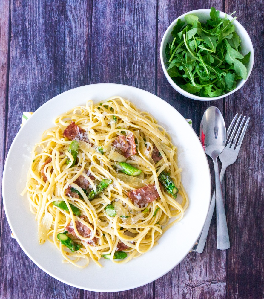 Linguine with Onion, Bacon, and Asparagus