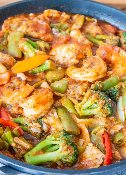Seafood Medley with Broccoli and Green Beans