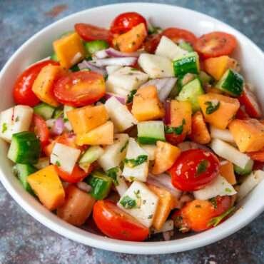Jicama, Papaya, Tomato and Cucumber Salad