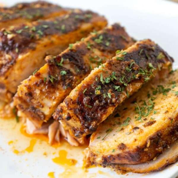 Slow Cooker Garlic Balsamic Pork Loin Roast