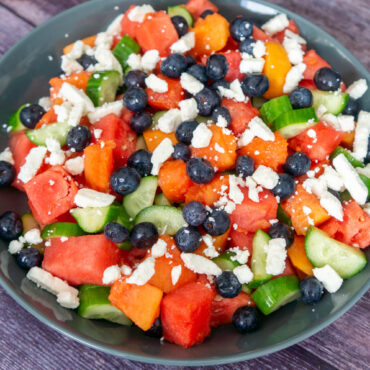 Watermelon, Papaya, Blueberries, and Cucumber Salad