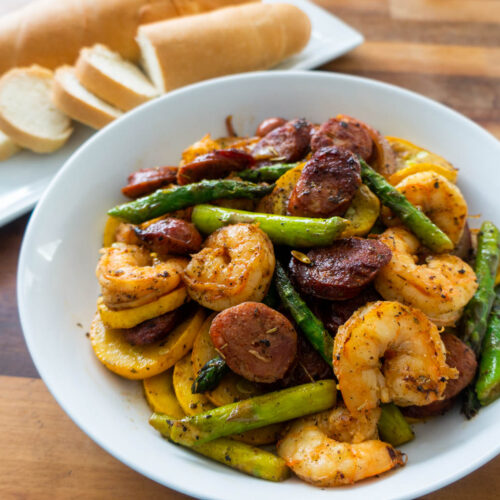 Shrimp and Sausage Vegetable Skillet Recipe
