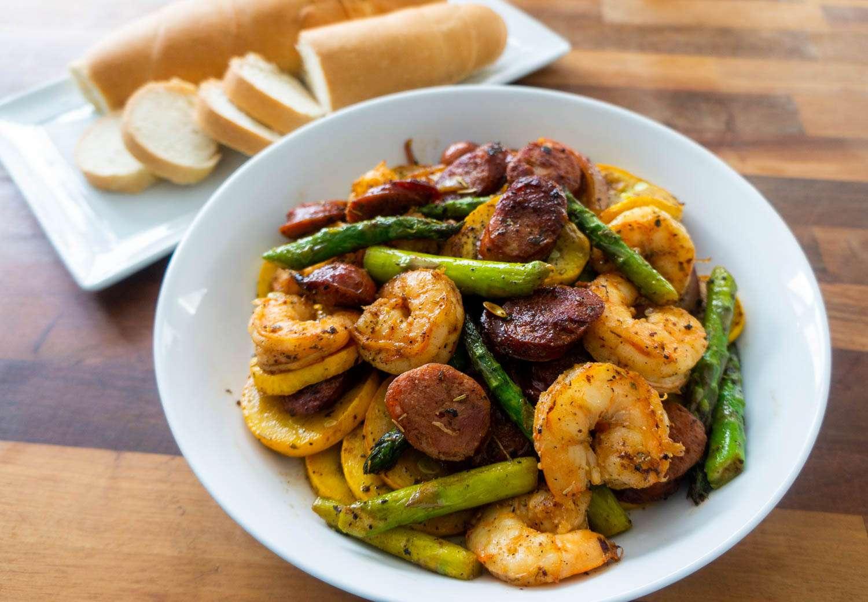 Shrimp and Sausage Vegetable Skillet recipe