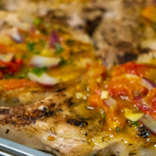 Baked Pork Chops with Tomato, Garlic Butter