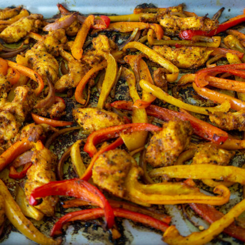 Sheet Pan Roasted Chicken Breast with Peppers and Onion