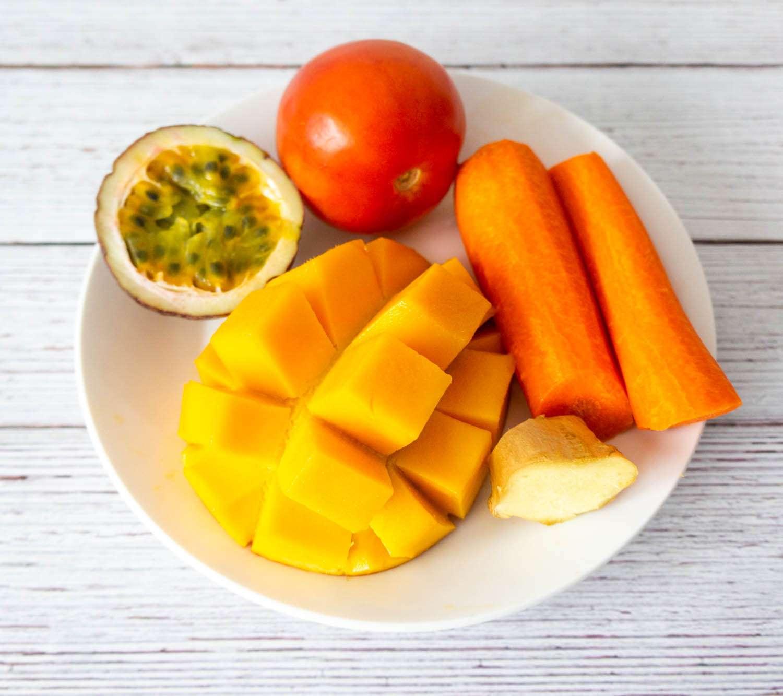 Mango, Carrot, Tomato, and Passionfruit Juice