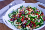 Chickpea, Cucumber and Olives Salad with Sweet Pepper Drops