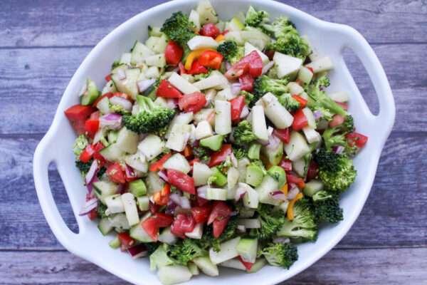 Chayote, Broccoli and Cucumber Salad