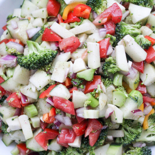 Chayote, Broccoli and Cucumber Salad