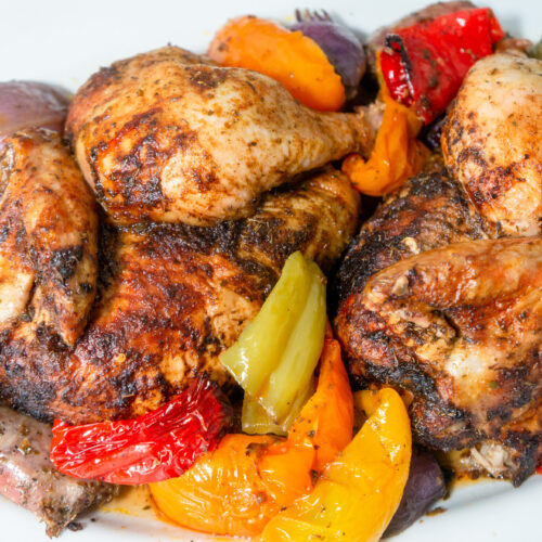 Roasted Chicken with peppers and sausages in Bundt and plated