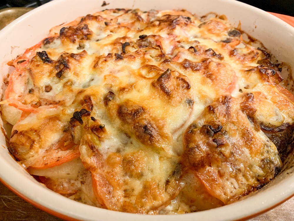 Potato, Onion, and Tomato Bake