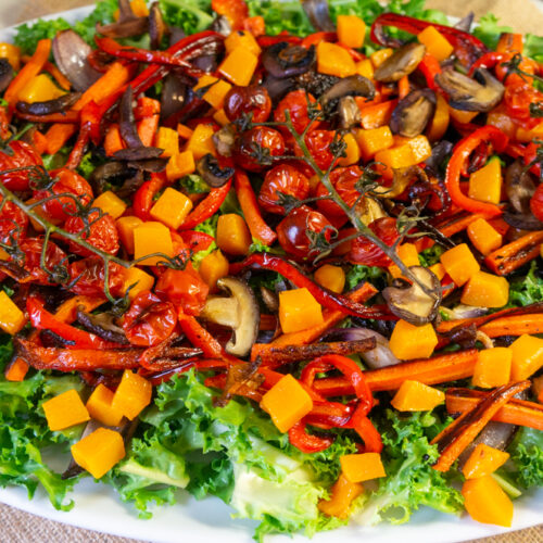 Curly Endive Salad with Roasted Vegetables