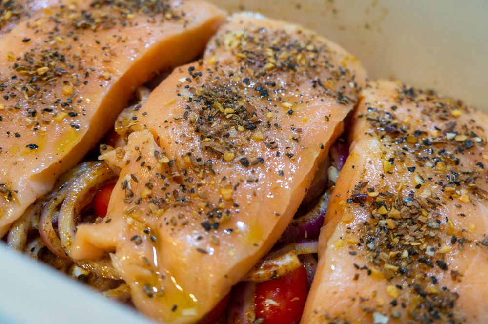 Salmon with Tomatoes and Onions
