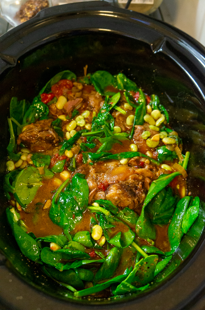 oxtail with spinach and lima beans