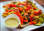 Grilled squash, eggplant, and mushroom with herb-lemon sauce